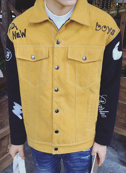 Letters Embroidered Turn-Down Collar Appliques Long Sleeve Color Block Men's Jacket - YELLOW M