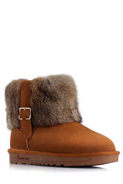 Gorgeous Buckle and Faux Fur Design Women's Snow Boots - BROWN 40