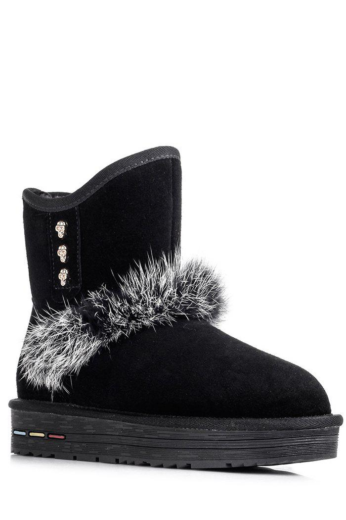 Stylish Skull and Faux Fur Design Women's Snow Boots