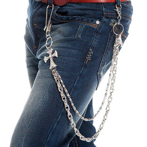 Stylish Rhinestone Cross Shape Embellished Two Layered Men's Trouser Chain - SILVER