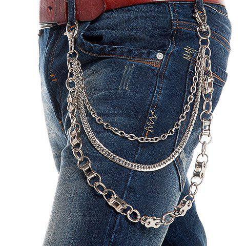 Stylish Block Chain Embellished Three Layered Trouser Chain For Men - SILVER