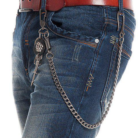 Stylish Skull and Dagger Shape Embellished Men's Trouser Chain - GUN METAL