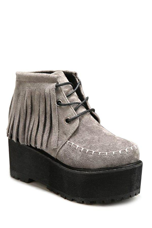 Vintage Platform and Fringe Design Women's Short Boots - GRAY 39