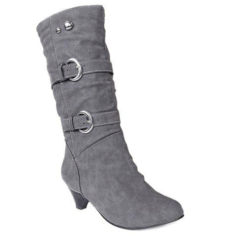 Fashionable Solid Color and Metal Rivets Design Women's Mid-Calf Boots - GRAY 39