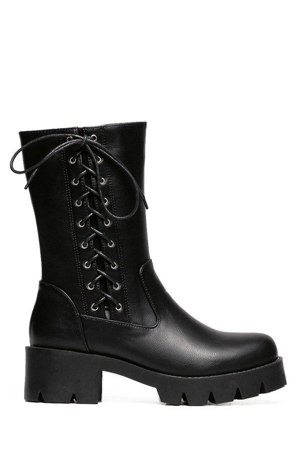 Concise Chunky Heel and Criss-Cross Design Women's Mid-Calf Boots - 39 BLACK