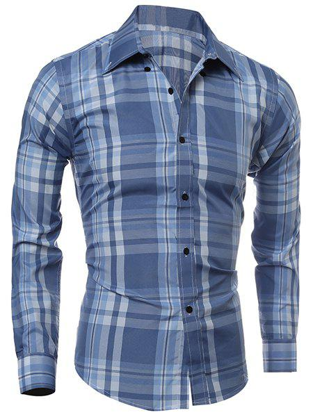 Classic Color Block Plaid Print Multi-Button Slimming Shirt Collar Long Sleeves Men's Shirt - LIGHT BLUE M