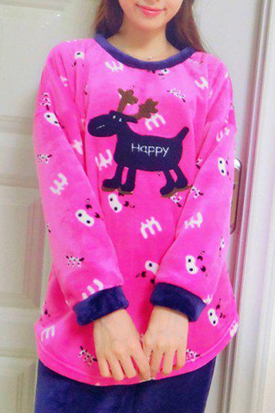 Cute Cartoon Elk Printed Long Sleeve Flannel Christmas Pajama Suit For Women - ROSE ONE SIZE(FIT SIZE XS TO M)