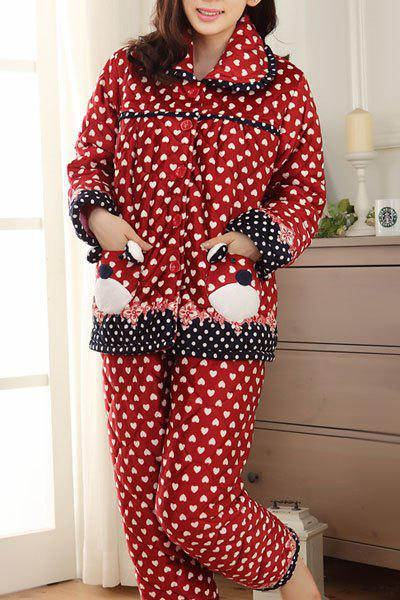 Chic Shirt Collar Polka Dot Bear Printed Flannel Coat and Pants Twinset Pajama For Women - RED S