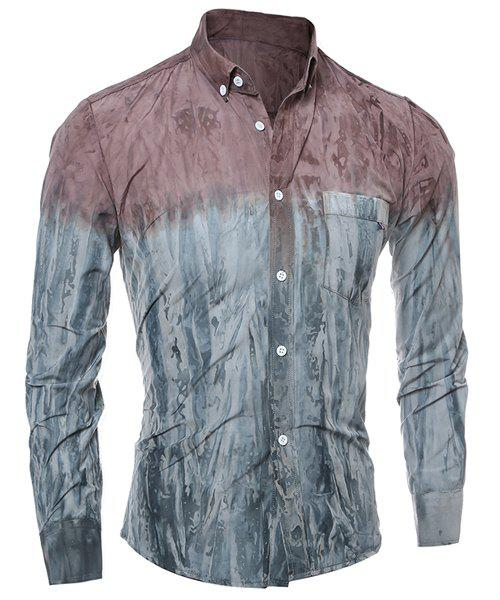 3D Tie-Dye Abstract Pattern One Pocket Slim Fit Shirt Collar Long Sleeves Men's Ombre Button-Down Shirt - RED L