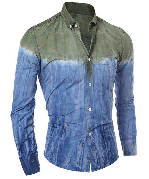 3D Tie-Dye Abstract Pattern One Pocket Slim Fit Shirt Collar Long Sleeves Mens Ombre Button-Down ShirtMen<br><br><br>Size: XL<br>Color: GREEN