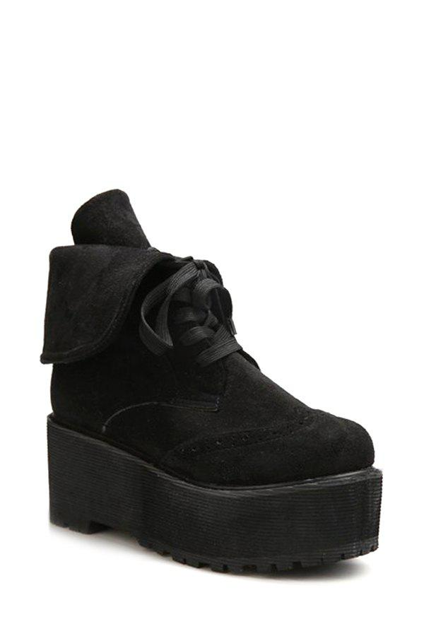 Retro Engraving and Fold Over Design Women's Short Boots - BLACK 37