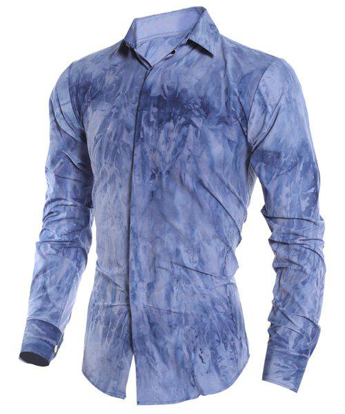 Tie-Dye 3D Abstract Pattern French Front Shirt Collar Long Sleeves Slimming Men's Casual Shirt - DEEP BLUE M