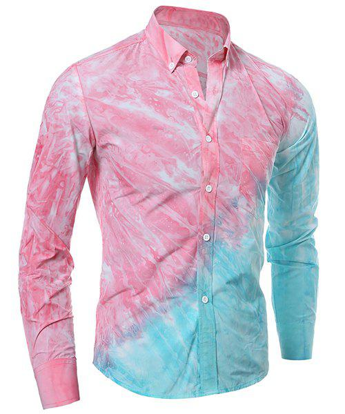 3D Tie-Dye Abstract Ombre Pattern One Pocket Shirt Collar Long Sleeves Men's Button-Down Shirt - PINK M