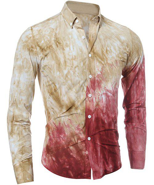 3D Tie-Dye Abstract Ombre Pattern One Pocket Shirt Collar Long Sleeves Mens Button-Down ShirtMen<br><br><br>Size: L<br>Color: YELLOW