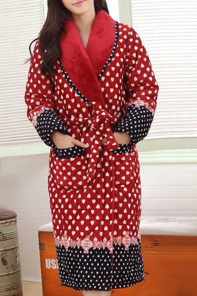 Casual Shawl Collar Heart Printed Thick Flannel House Coat For Women - RED XL