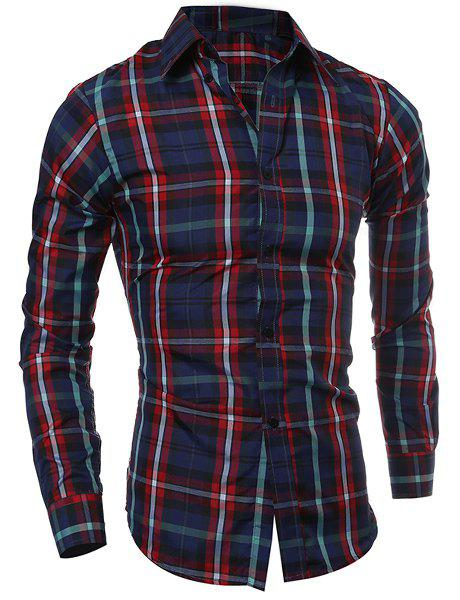 Casual Turn-down Collar Color Block Checked Print Slimming Men's Long Sleeves Shirt - RED 2XL