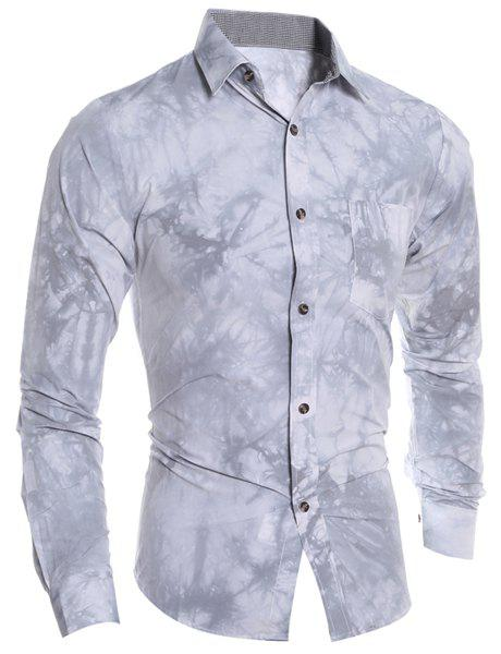 3D Abstract Tie-Dye Floral Pattern One Pocket Slimming Shirt Collar Long Sleeves Men's Shirt - GRAY M