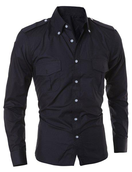 Double Pocket Epaulet Design Solid Color Shirt Collar Long Sleeves Slim Fit Men's Button-Down Shirt - BLACK M