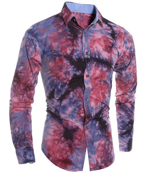 Image of Abstract Floral Pattern 3D Tie-Dye Design Slimming Shirt Collar Long Sleeves Men's Shirt