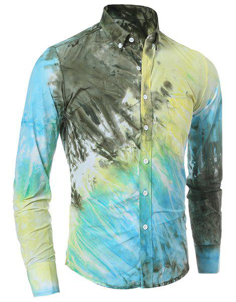 One Patch Pocket 3D Tie-Dye Slimming Shirt Collar Long Sleeves Men's Ombre Button-Down Shirt - YELLOW XL