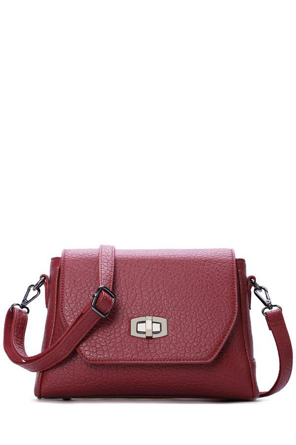 Trendy Cover and Embossing Design Women's Crossbody Bag - WINE RED