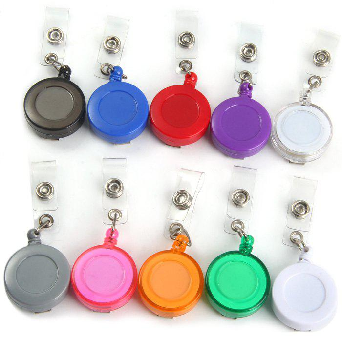 Small Badge Reel + Metal Wire Rope Plastic Made - RANDOM COLOR 1PC