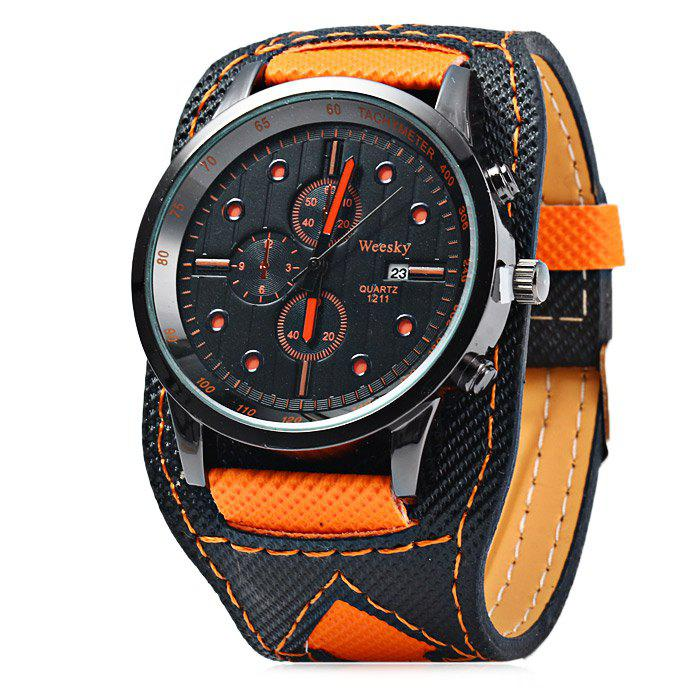 Weesky 1211 Canvas + Leather Band Quartz Watch for Men - ORANGE