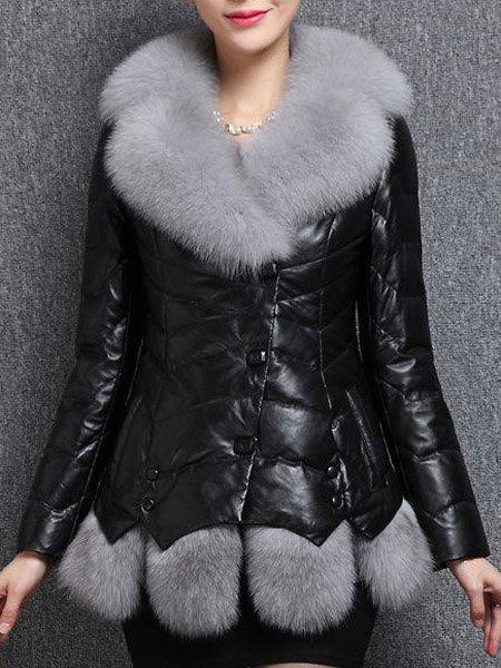 Chic Long Sleeve Turn-Down Collar Spliced Faux Leather Women's Coat