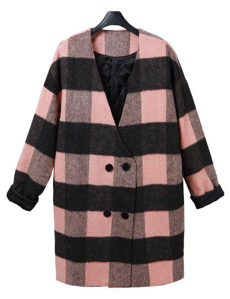 Graceful Long Sleeve V-Neck Loose-Fitting Plaid Women's Coat - M PINK