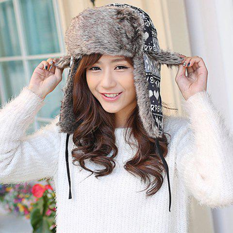 Chic Christmas Snowflake and Heart Pattern Women's Thicken Trapper Hat - BLACK