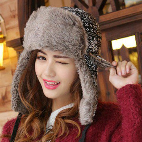 Chic Christmas Snowflake and Wavy Stripe Pattern Thicken Trapper Hat For Women - BLACK