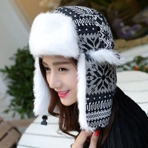 Chic Christmas Snowflake and Tribal Pattern Thicken Trapper Hat For Women - BLACK