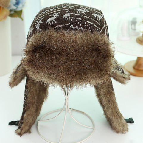 Chic Christmas Deer and Wavy Stripe Pattern Thicken Knitted Trapper Hat For Women - COFFEE