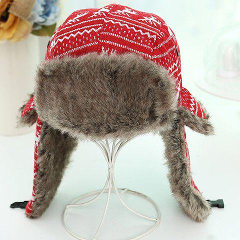 Chic Christmas Deer Pattern Mix Color Faux Fur Thicken Knitted Trapper Hat For Women - RED