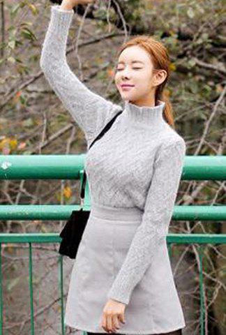 Casual Turtle Collar Long Sleeve Solid Color Women's Sweater - ONE SIZE(FIT SIZE XS TO M) LIGHT GRAY