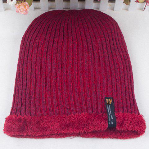 Stylish Label Vertical Stripy Thicken Knitted Beanie For Men - RED