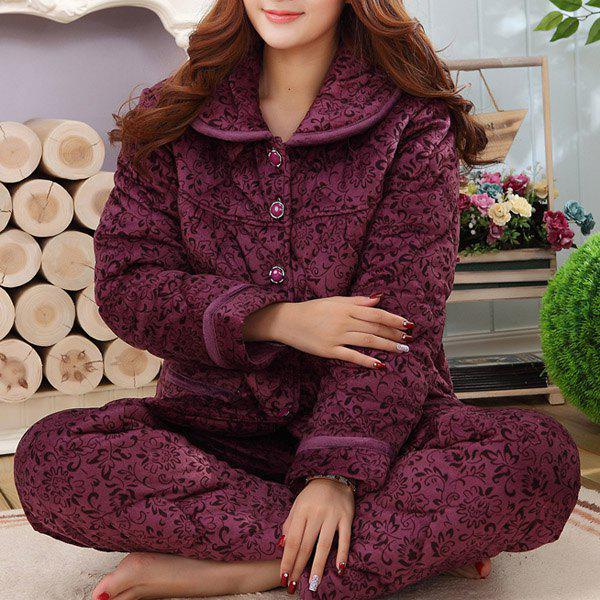 Trendy Purple Flower Printed Flannel Coat and Pants Twinset Pajama For Women