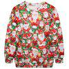 Cute Long Sleeve Round Collar Santa Claus Print Women's Sweatshirt - RED ONE SIZE(FIT SIZE XS TO M)