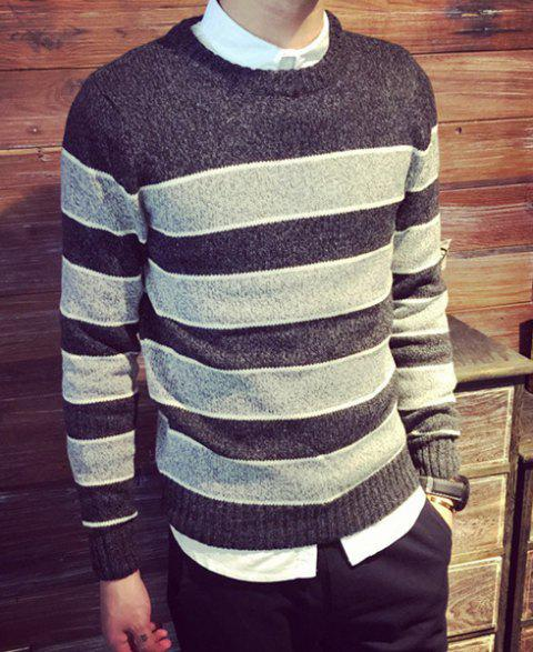 Casual Pullover Cross Stripe Color Matching Twist Fower Sweater For Men - BLACK XL