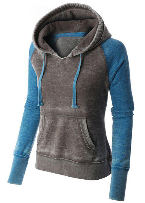 Casual Style Long Sleeve Hooded Front Pocket Design Spliced Women's Pullover Hoodie - BLUE M