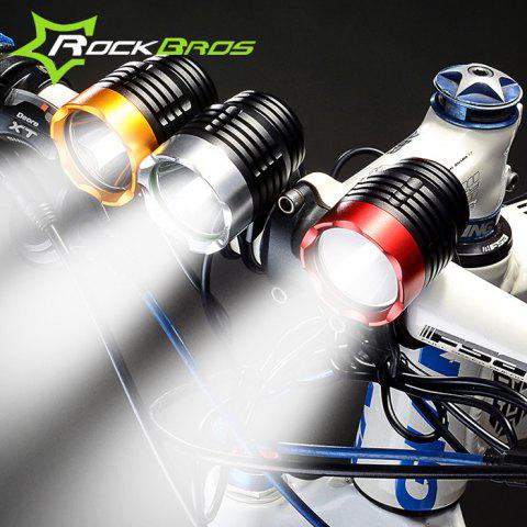 ROCKBROS T6 Cree 3 Modes 1200LM Bicycle Head Lamp + Rubber Ring - GOLDEN USB TYPE