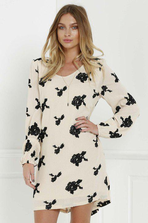 Long Sleeve Floral Embroidered Tunic Dress - BLACK S