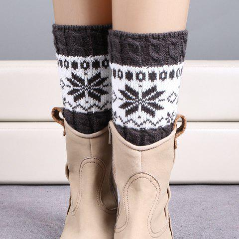 Pair of Chic Christmas Snowflake Pattern Women's Knitted Boot Cuffs - DEEP GRAY