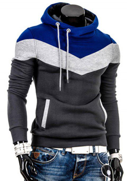 815a242d5ce3e0 Hooded Drawstring Color Block Splicing Thicken Long Sleeve Men's Hoodie -  BLACK GREY XL