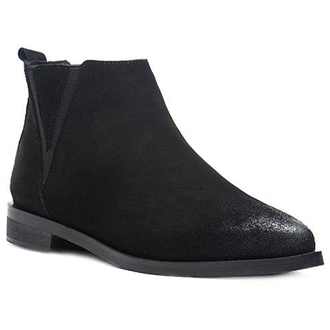 Stylish Elastic and Pointed Toe Design Ankle Boots For Women - BLACK 36