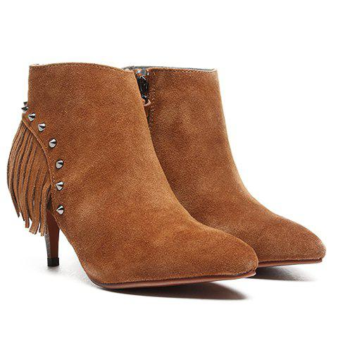 Trendy Metal Rivets and Solid Color Design Ankle Boots For Women - BROWN 35