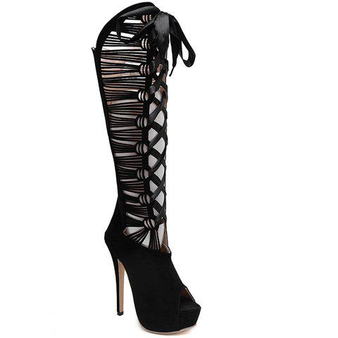 Fashionable Zip and Black Design Cut Out Boots For Women - BLACK 35