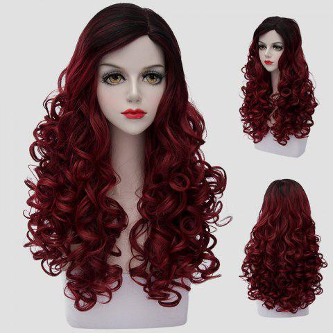 Fluffy Curly Nobby Black Ombre Dark Red Noble Long Synthetic Cosplay Wig For Women - COLORMIX