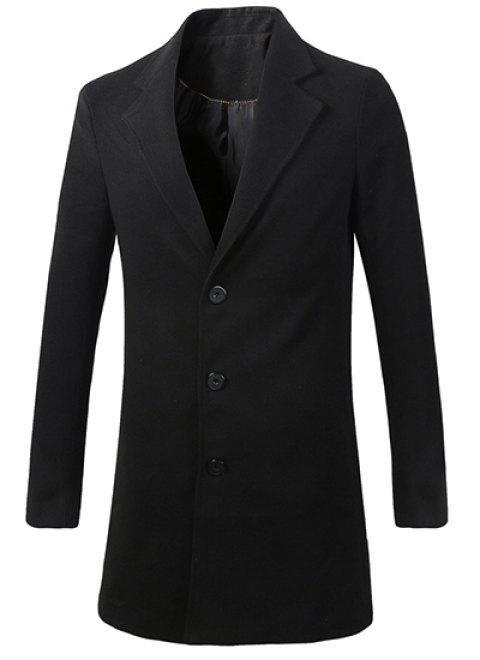 Men's Casual Turn Down Collar Solid Color Single Breasted Trench Coat - BLACK L