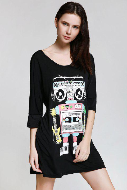 Casual Style Scoop Neck Robot Print 3/4 Sleeve Dress For Women - BLACK 2XL